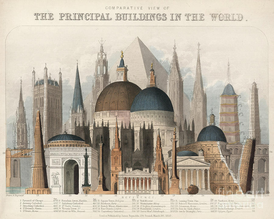 COMPARATIVE VIEW OF THE PRINCIPAL BUILDINGS IN THE WORLD by John Emslie