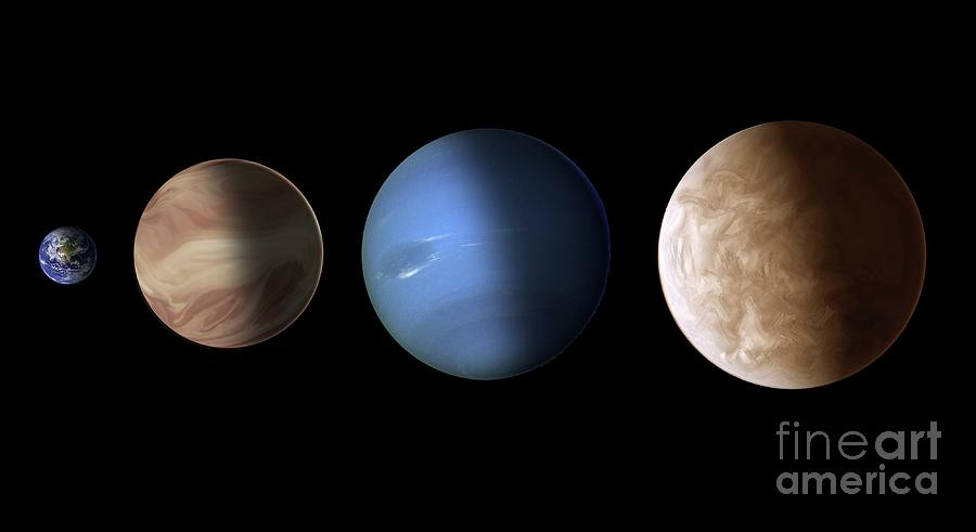 Exoplanets Photograph - Comparison Of Exoplanets by Nasa/esa/stsci/science Photo Library