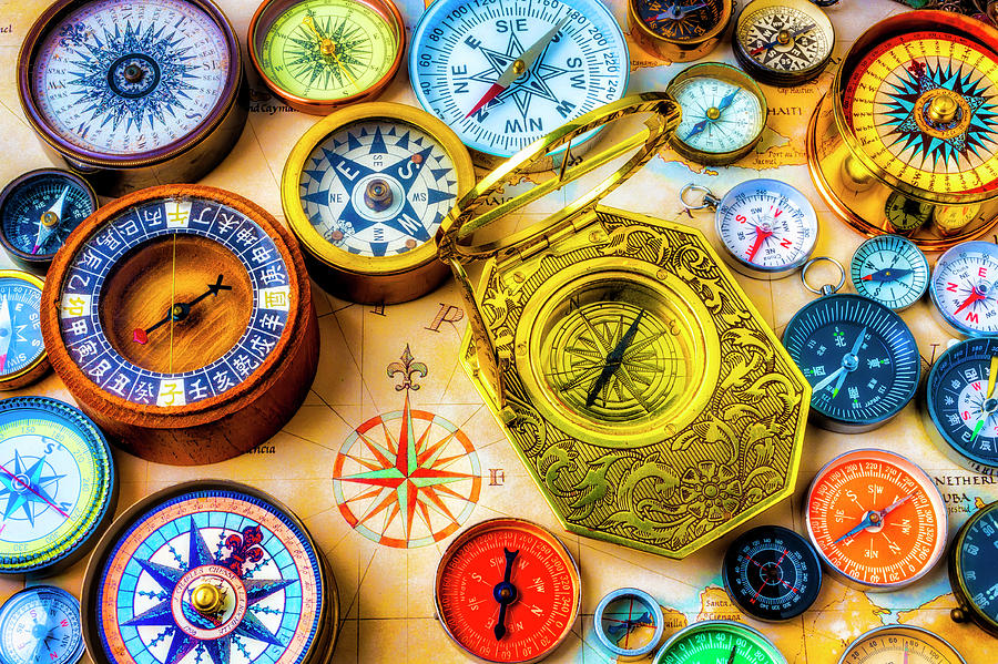 Compass Photograph - Compass And Compass Rose by Garry Gay