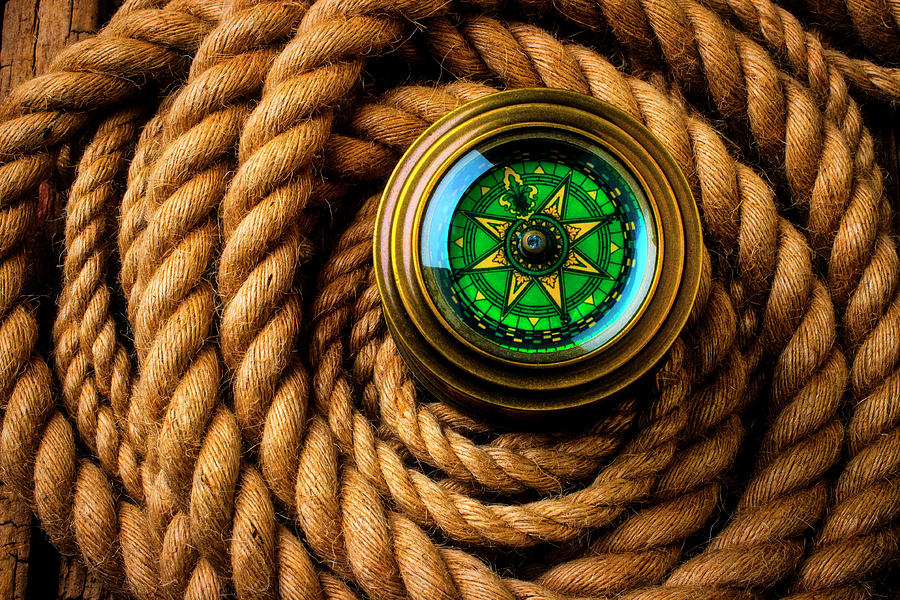 Compass In A Coil Of Rope by Garry Gay