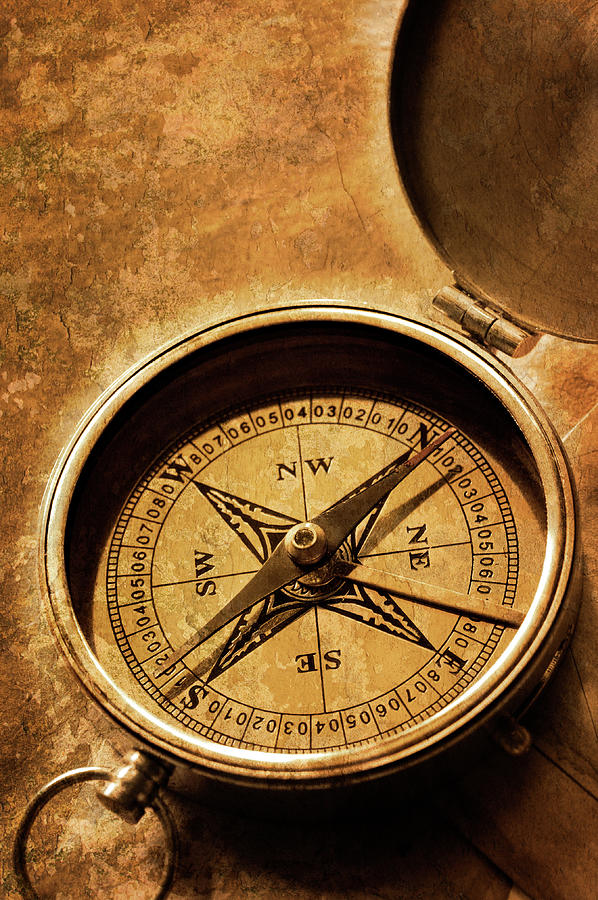 Compass On Old Texture Photograph by Dny59