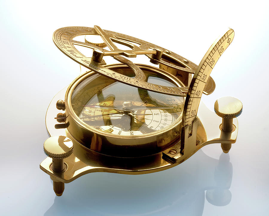 Compass Sundial On White Photograph by Atu Images