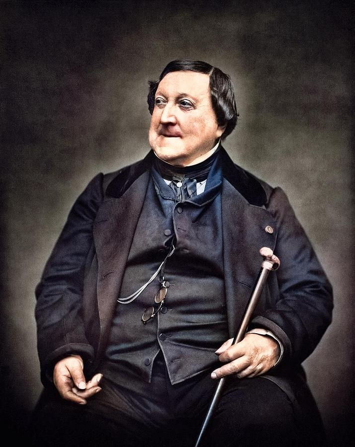 Composer Rossini G 1865 By Carjat Colorized By Ahmet Asar Painting