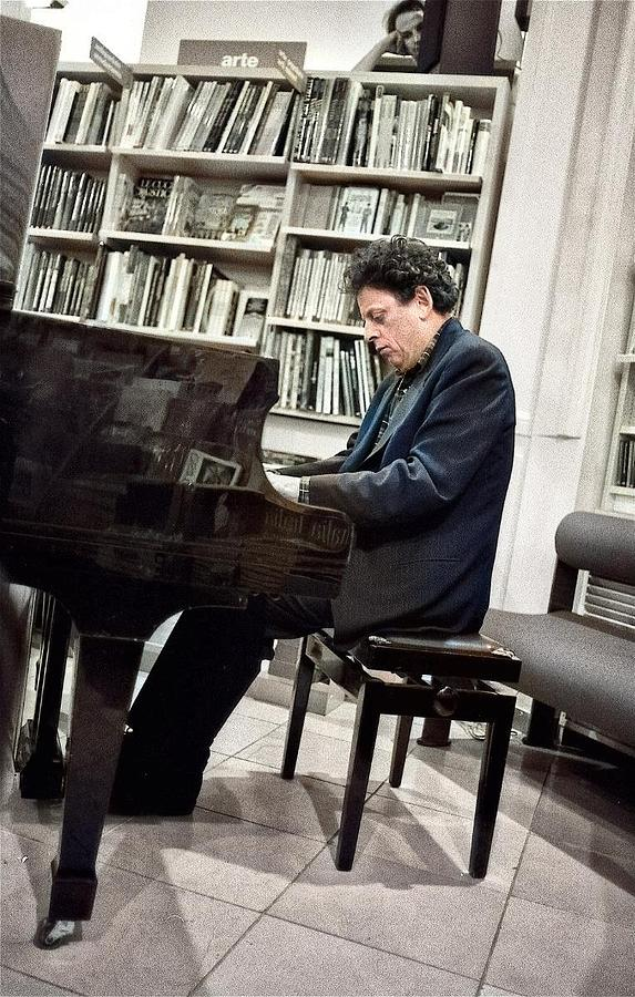 Composerphilip Glass, 1993 In Florence By Pasquale Salerno Colorized By Ahmet Asar Painting