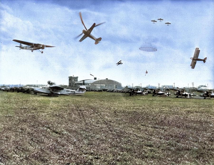 Composite Photograph Of The Imperial Oil Airshow At The Edmonton Municipal Airport, Alberta Colorize Painting