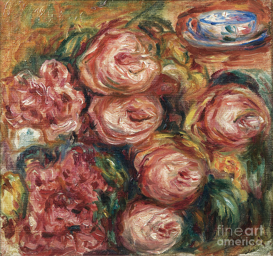 Composition With Roses And A Cup Of Tea Drawing by Heritage Images