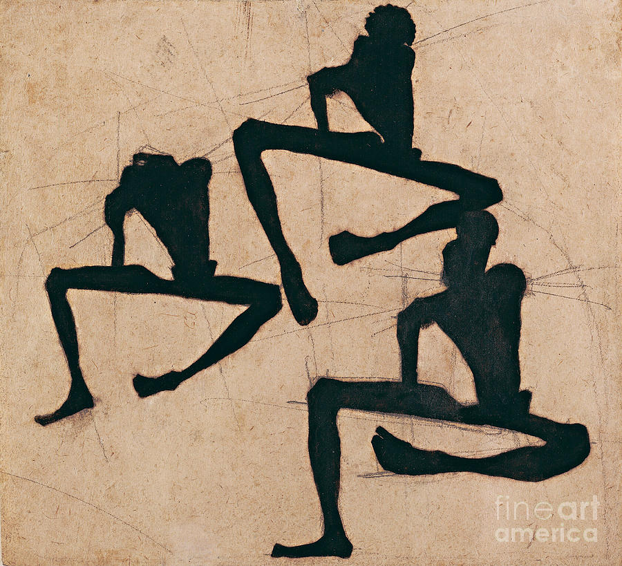 Composition With Three Male Nudes Drawing by Heritage Images