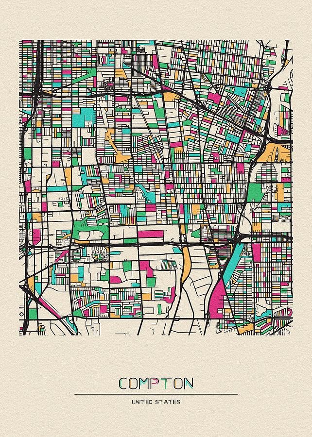 Compton, California City Map by Inspirowl Design