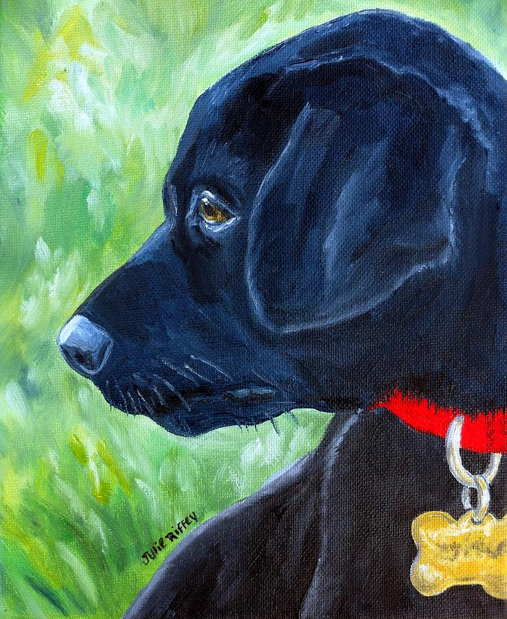 Concentration - Black Lab Puppy by Julie Brugh Riffey