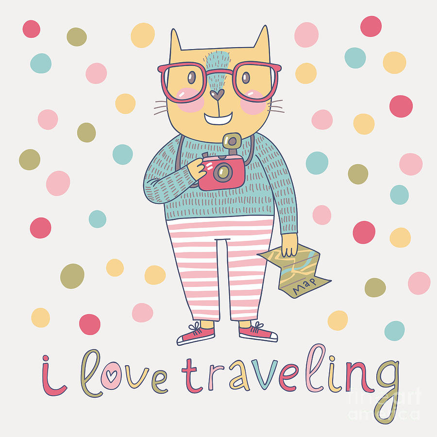 Happy Digital Art - Concept Cat Hipster In Cartoon Funny by Smilewithjul