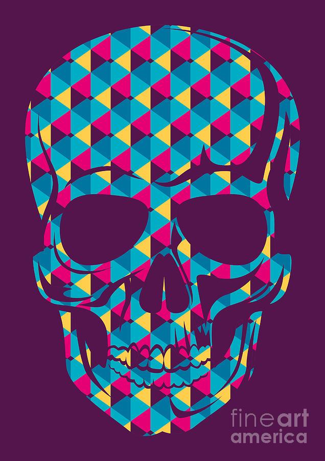 Symbol Digital Art - Conceptual Human Skull. Vector by Radoman Durkovic