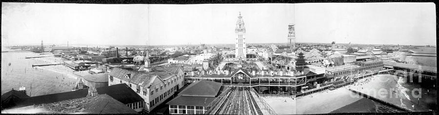 Coney Island Photograph - Coney Island 1910 Pano by Hall