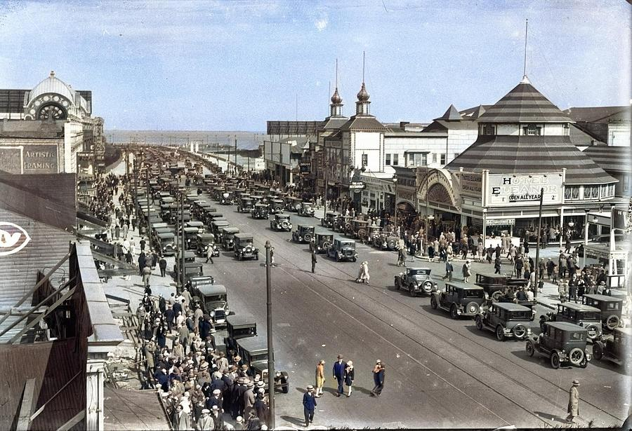 Coney Island Early 1900s Surf Ave Colorized By Ahmet Asar Painting