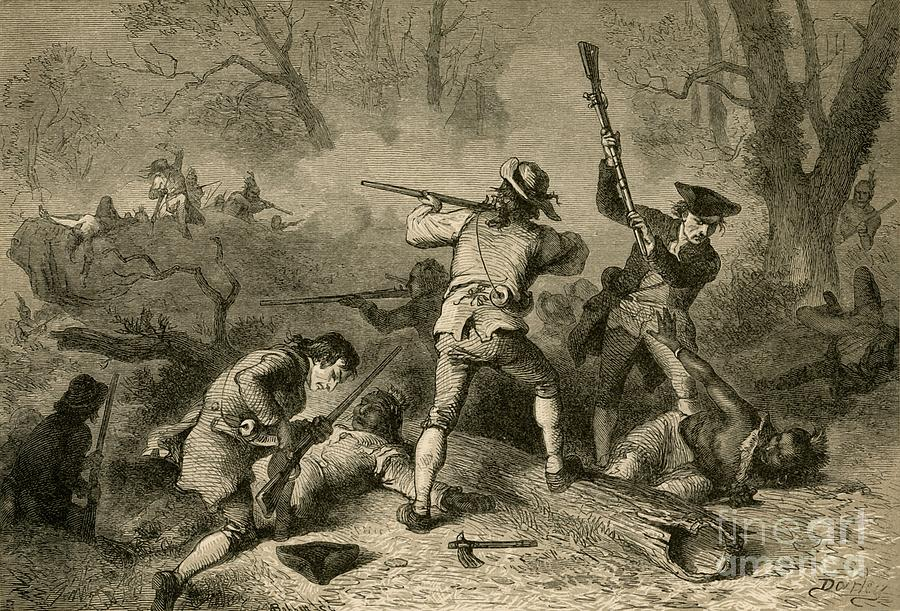 Conflict With The Indians Drawing by Print Collector