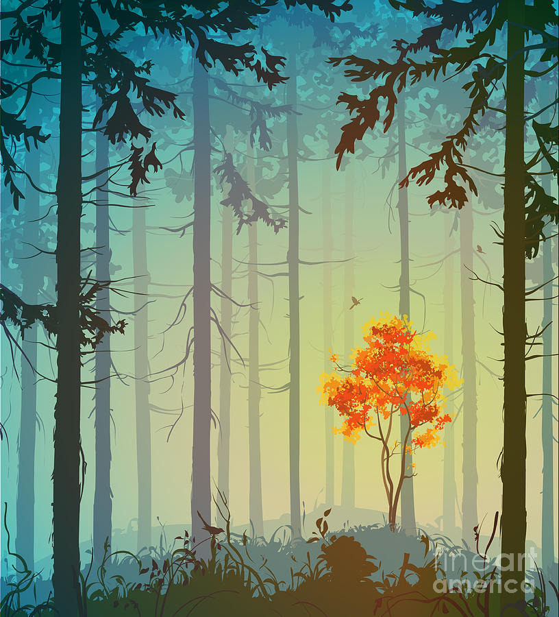 Magpie Nest Digital Art - Coniferous Forest With Autumn Tree And by Eva mask
