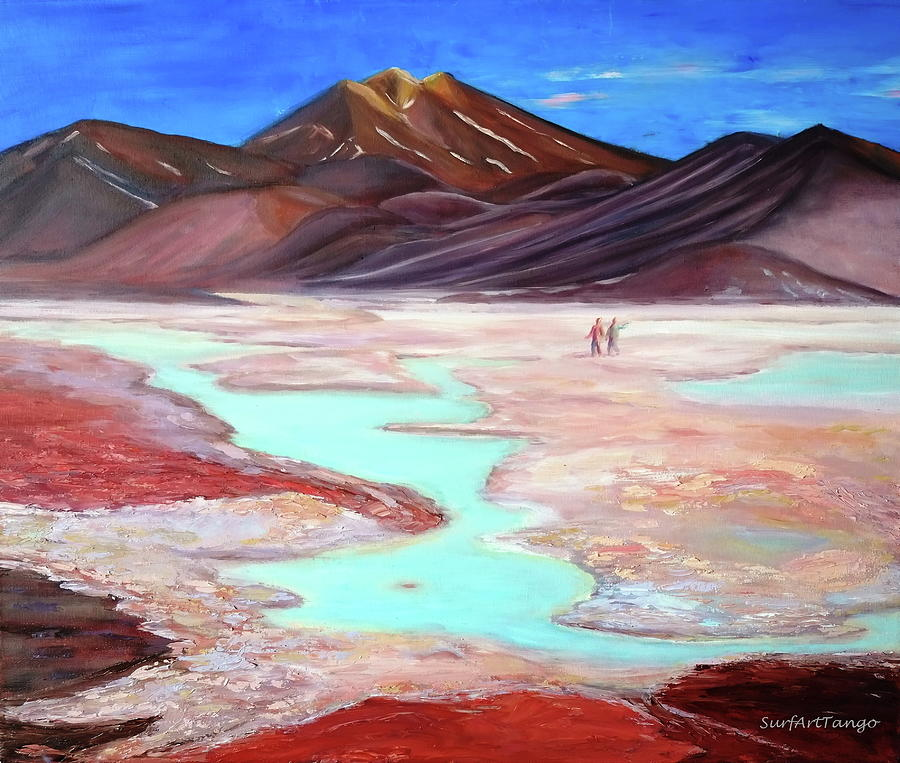 Atacama Painting - Connecting Four Countries. Atacama. by SurfArtTango Marina Lisovaya