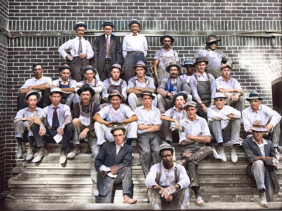 Construction Crew On Steps Of Campus Building 1911 Colorized By Ahmet Asar Painting