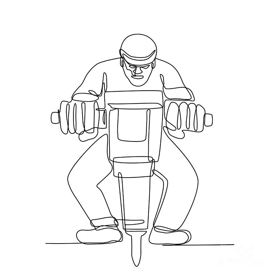 Construction Worker Jackhammer Continuous Line by Aloysius Patrimonio