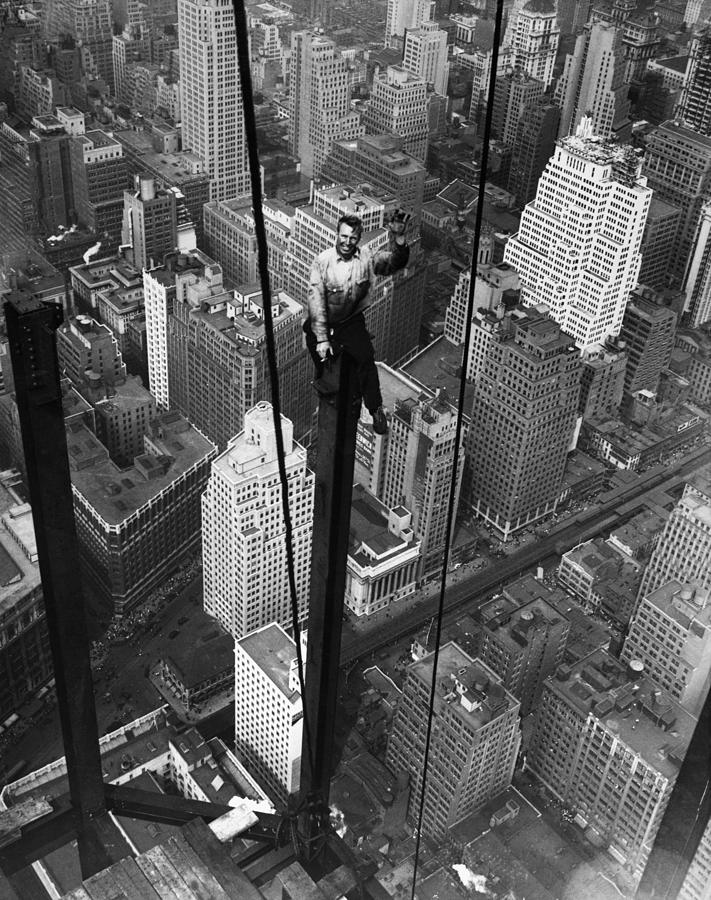 Construction Worker Waves From Empire Photograph by Bettmann