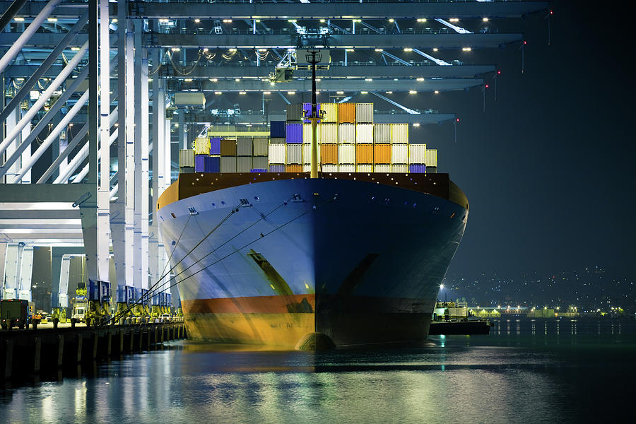 Container Ship Being Loaded Photograph by Hal Bergman