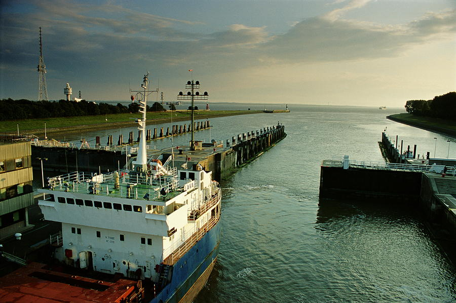 Container Ship In A Lock, Brunsbuttel Photograph by Jorg Greuel