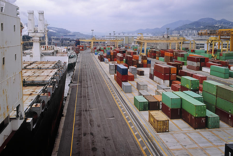 Container Shipping, Port Of Genoa, Italy Photograph by Alberto Incrocci