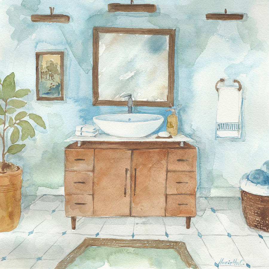 Contemporary Bathroom Ii Painting By Marietta Cohen Art And Design