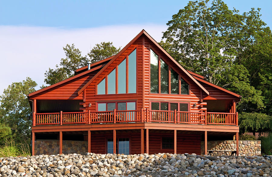 Contemporary Log House Photograph by Emptyclouds
