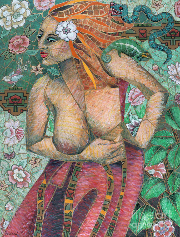 contemporary mosaic art - Woman in Two Worlds by Sharon Hudson