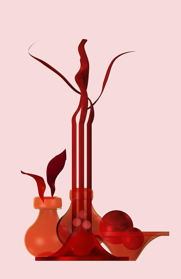 Contemporary Redish Still Life Digital Art