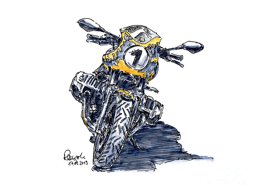 Motorbike Drawing - Continental BMW R Nine T Motorcycle Ink Drawing and Watercolor by Frank Ramspott