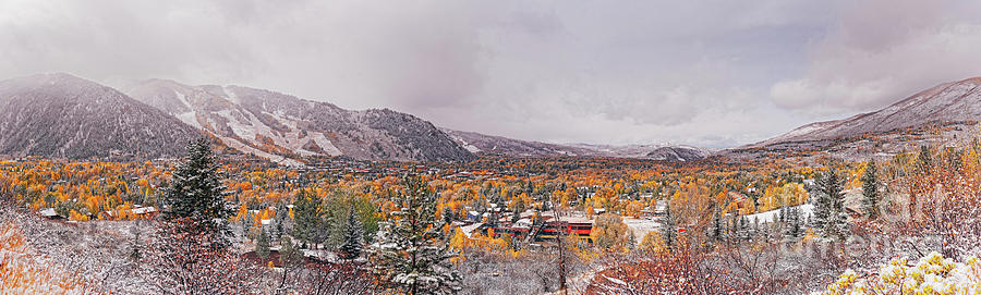 Convergence of Fall and Winter Seasons over Aspen - Pitkin County Colorado by Silvio Ligutti