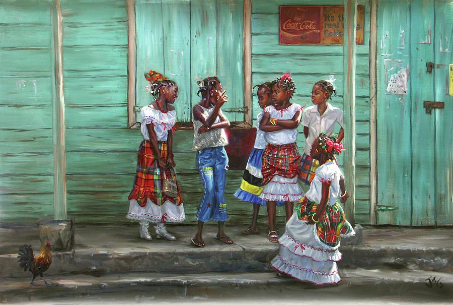 Madras Painting - Conversation by Jonathan Guy-Gladding JAG