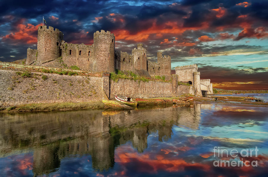 Conwy Castle Photograph - Conwy Castle Sunset by Adrian Evans