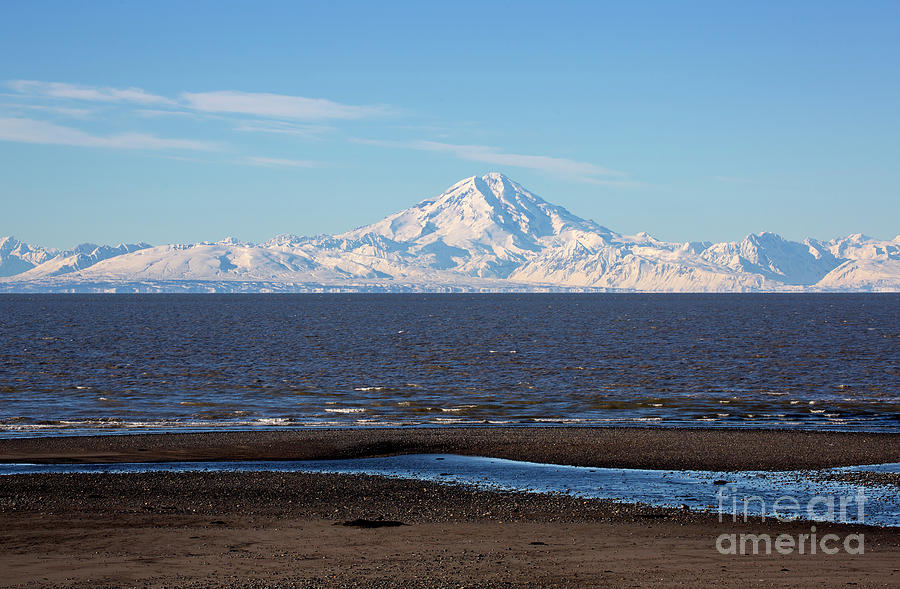 Beach Photograph - Cook Inlet And The Alaska Range From Ninilchik by Louise Heusinkveld