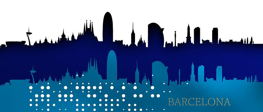 Cool blue Barcelona skyline. by Alberto RuiZ