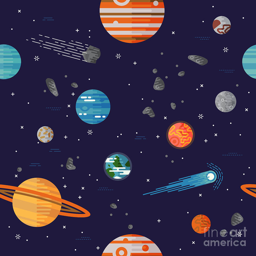 Big Digital Art - Cool Galaxy Planets And Stars Space by Mascha Tace