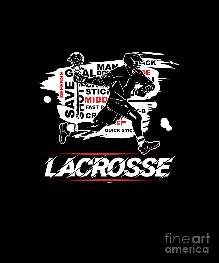 Typography Digital Art - Cool Lacrosse Player Outdoors Sports Team Typography by Tom Giant