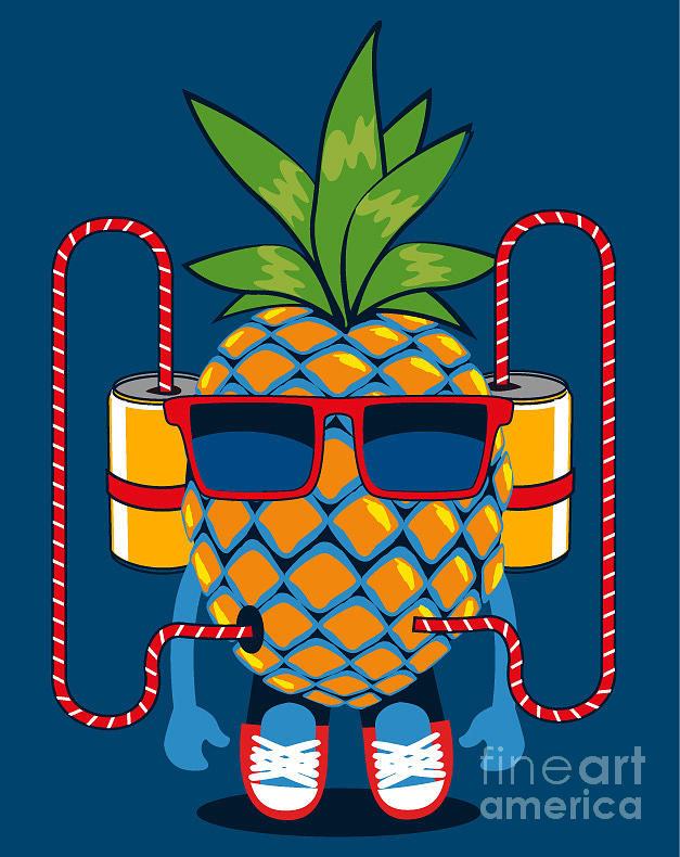 Body Digital Art - Cool  Pineapple Character Vector Design by Braingraph