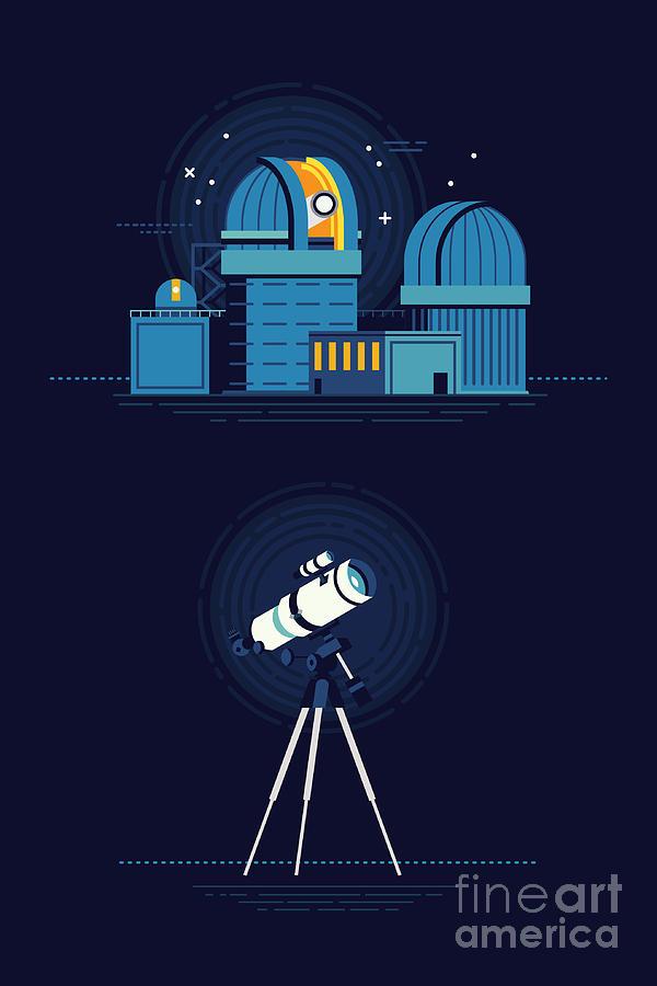Big Digital Art - Cool Vector Modern Observatory At Night by Mascha Tace