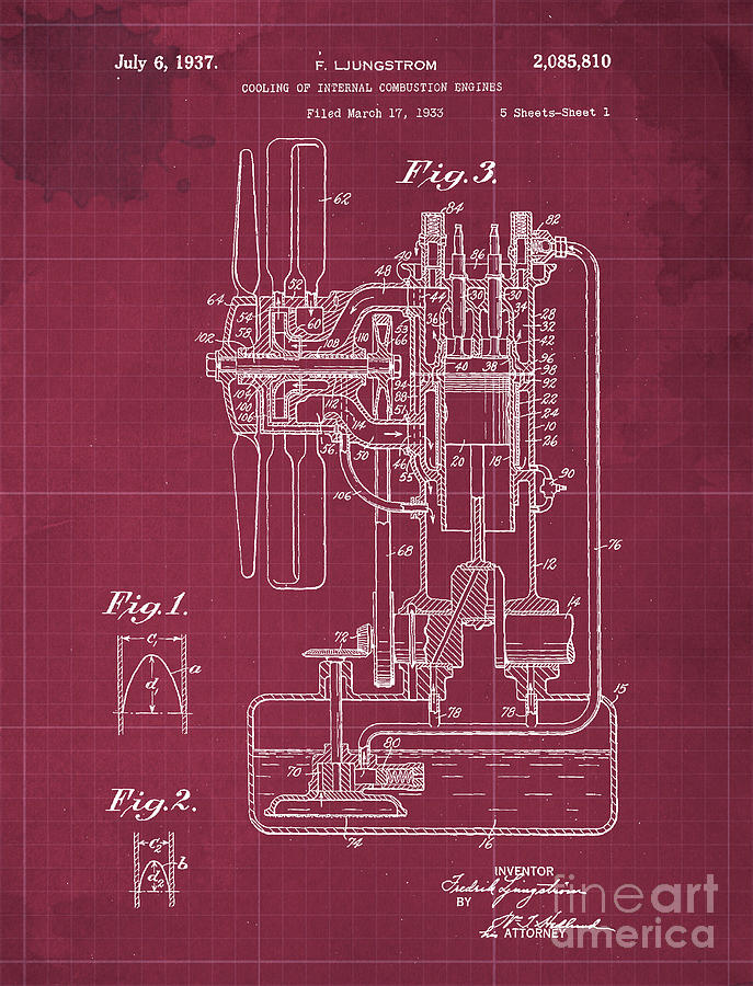 Cooling Of Internal Combustion Engines Patent Year 1937 Drawing