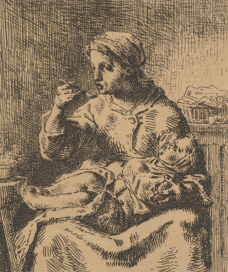 Cooling the Porridge by Jean-Francois Millet