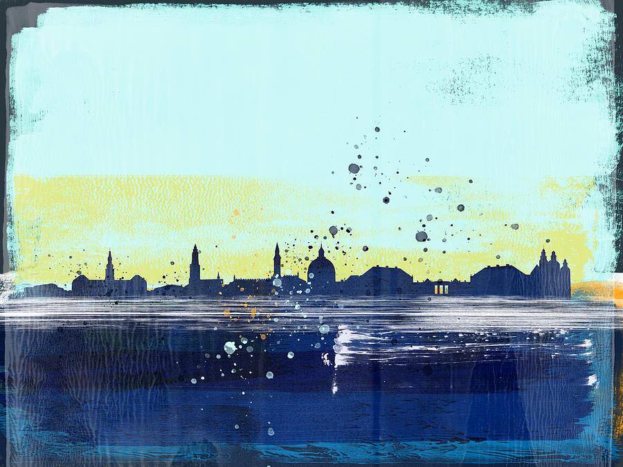 Copenhagen Mixed Media - Copenhagen Abstract Skyline I by Naxart Studio