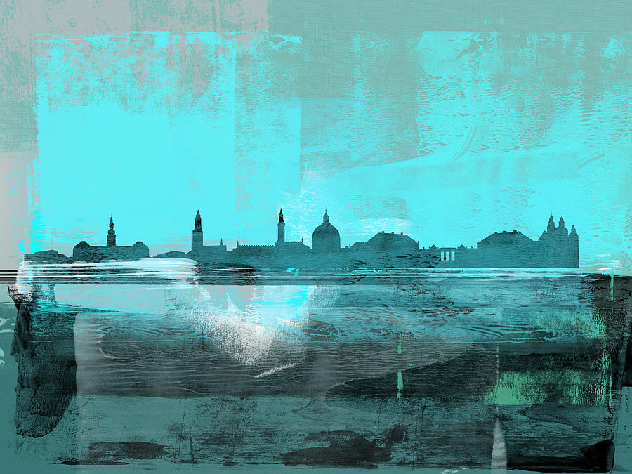 Copenhagen Mixed Media - Copenhagen Abstract Skyline II by Naxart Studio