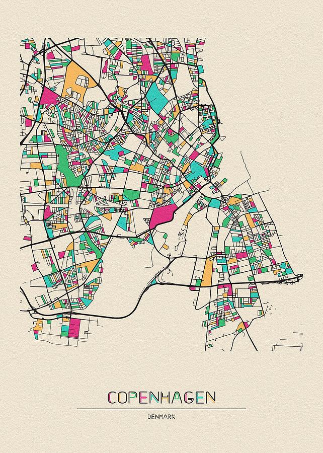 Copenhagen, Denmark City Map by Inspirowl Design