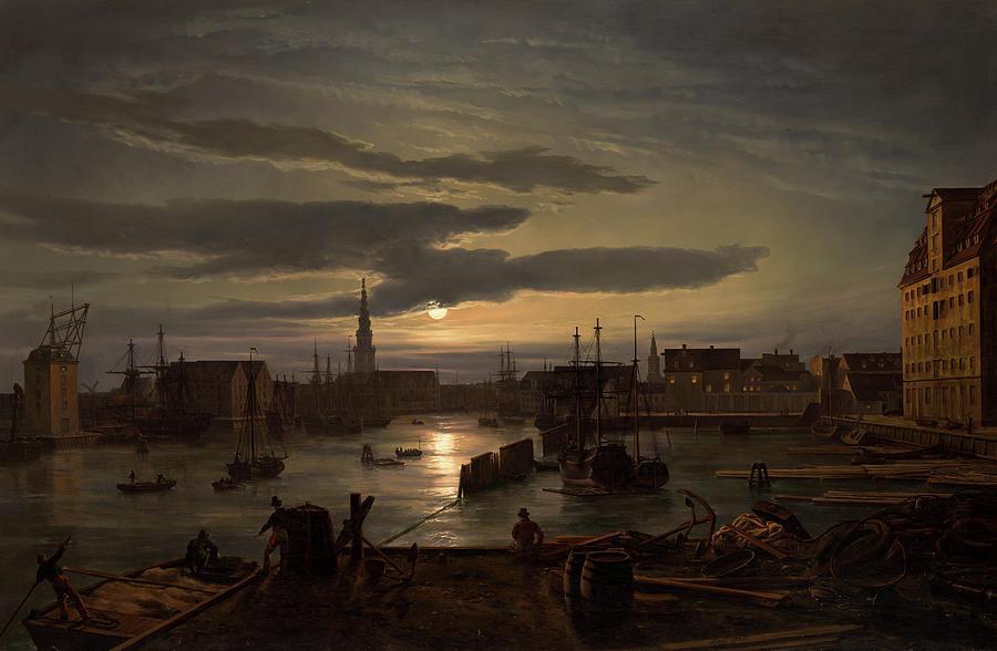 Copenhagen Harbor by Moonlight                                                 by Johan Christian Dahl
