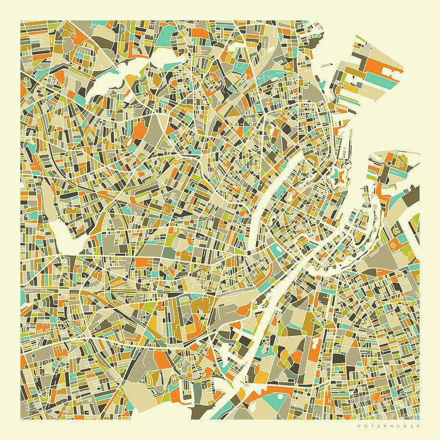 Copenhagen Map 1 Digital Art by Jazzberry Blue