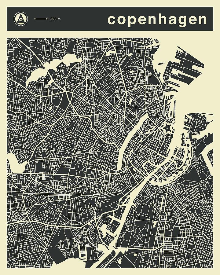 Copenhagen Map 3 Digital Art by Jazzberry Blue