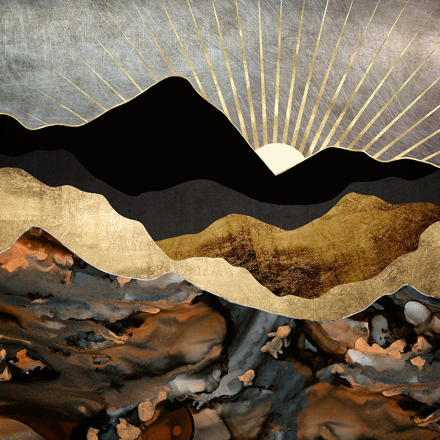 Copper and Gold Mountains by Spacefrog Designs