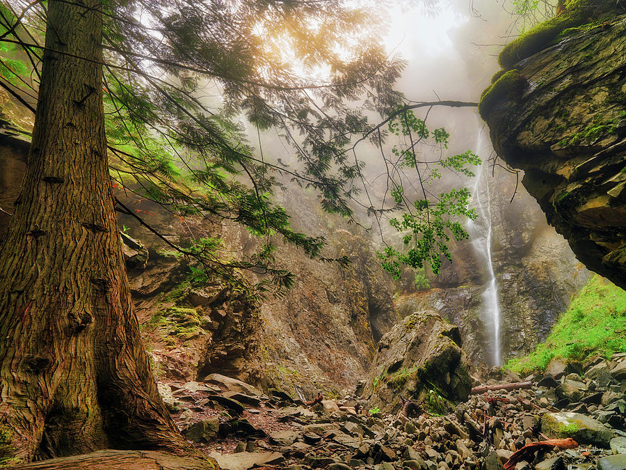 Copper Falls Mist and Light by Leland D Howard